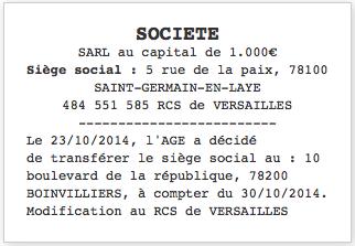 Annonce légale transfert de siège social même département